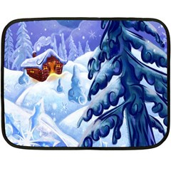Christmas Wooden Snow Double Sided Fleece Blanket (mini)  by Alisyart