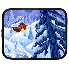 Christmas Wooden Snow Netbook Case (xl)  by Alisyart