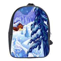 Christmas Wooden Snow School Bag (large) by Alisyart