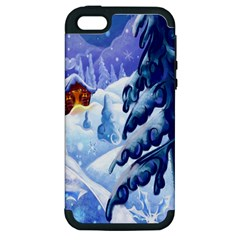Christmas Wooden Snow Apple Iphone 5 Hardshell Case (pc+silicone) by Alisyart