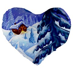 Christmas Wooden Snow Large 19  Premium Heart Shape Cushions by Alisyart