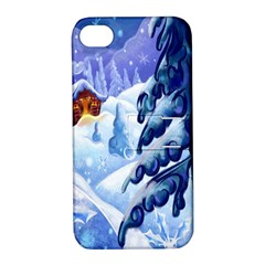 Christmas Wooden Snow Apple Iphone 4/4s Hardshell Case With Stand by Alisyart