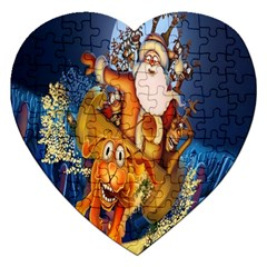 Deer Santa Claus Flying Trees Moon Night Christmas Jigsaw Puzzle (heart) by Alisyart