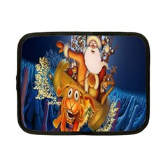 Deer Santa Claus Flying Trees Moon Night Christmas Netbook Case (small)  by Alisyart