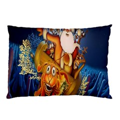 Deer Santa Claus Flying Trees Moon Night Christmas Pillow Case by Alisyart