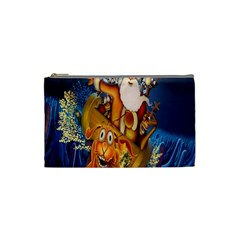 Deer Santa Claus Flying Trees Moon Night Christmas Cosmetic Bag (small)  by Alisyart