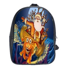Deer Santa Claus Flying Trees Moon Night Christmas School Bag (large) by Alisyart