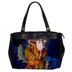 Deer Santa Claus Flying Trees Moon Night Christmas Office Handbags by Alisyart