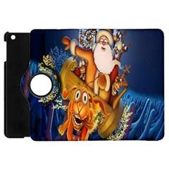 Deer Santa Claus Flying Trees Moon Night Christmas Apple Ipad Mini Flip 360 Case by Alisyart