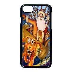 Deer Santa Claus Flying Trees Moon Night Christmas Apple Iphone 8 Seamless Case (black) by Alisyart