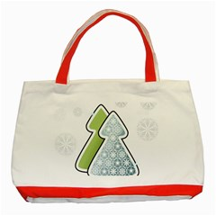 Tree Spruce Xmasts Cool Snow Classic Tote Bag (red) by Alisyart