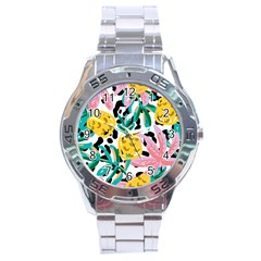 Fruit Pattern Pineapple Leaf Stainless Steel Analogue Watch by Alisyart