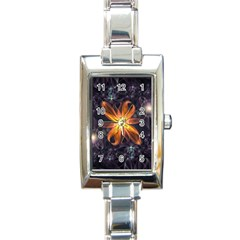 Beautiful Orange Star Lily Fractal Flower At Night Rectangle Italian Charm Watch by beautifulfractals