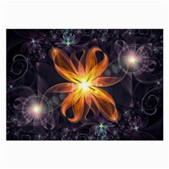 Beautiful Orange Star Lily Fractal Flower At Night Large Glasses Cloth by jayaprime