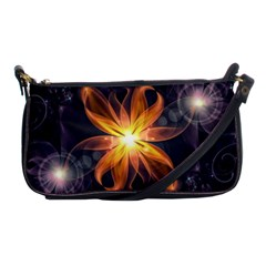 Beautiful Orange Star Lily Fractal Flower At Night Shoulder Clutch Bags by jayaprime