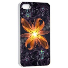 Beautiful Orange Star Lily Fractal Flower At Night Apple Iphone 4/4s Seamless Case (white) by jayaprime