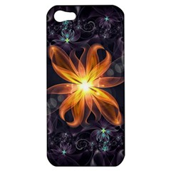 Beautiful Orange Star Lily Fractal Flower At Night Apple Iphone 5 Hardshell Case by jayaprime
