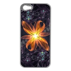 Beautiful Orange Star Lily Fractal Flower At Night Apple Iphone 5 Case (silver) by jayaprime