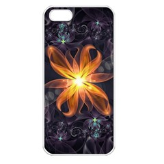 Beautiful Orange Star Lily Fractal Flower At Night Apple Iphone 5 Seamless Case (white) by jayaprime
