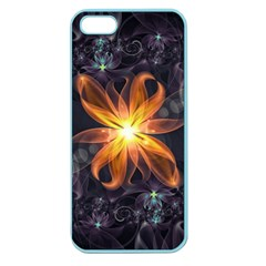 Beautiful Orange Star Lily Fractal Flower At Night Apple Seamless Iphone 5 Case (color) by jayaprime