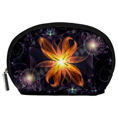 Beautiful Orange Star Lily Fractal Flower At Night Accessory Pouches (large)