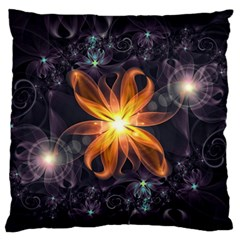 Beautiful Orange Star Lily Fractal Flower At Night Large Flano Cushion Case (one Side) by jayaprime
