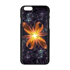 Beautiful Orange Star Lily Fractal Flower At Night Apple Iphone 6/6s Black Enamel Case by beautifulfractals