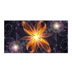 Beautiful Orange Star Lily Fractal Flower At Night Satin Wrap by jayaprime