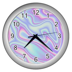 Holographic Design Wall Clocks (silver)