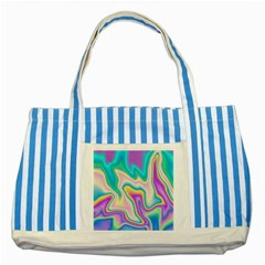Holographic Design Striped Blue Tote Bag