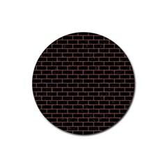 Brick1 Black Marble & Brown Denim (r) Rubber Round Coaster (4 Pack)  by trendistuff