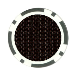 Brick1 Black Marble & Brown Denim (r) Poker Chip Card Guard by trendistuff