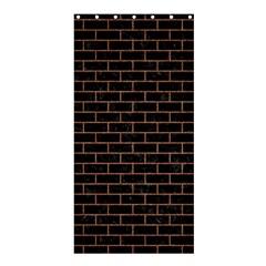 Brick1 Black Marble & Brown Denim (r) Shower Curtain 36  X 72  (stall)  by trendistuff