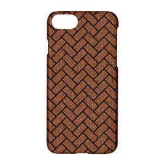 Brick2 Black Marble & Brown Denim Apple Iphone 8 Hardshell Case by trendistuff