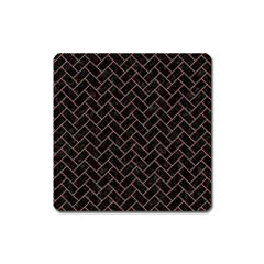 Brick2 Black Marble & Brown Denim (r) Square Magnet by trendistuff