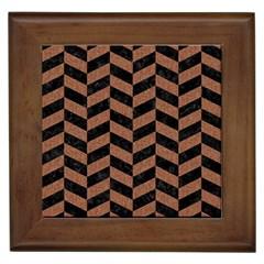 Chevron1 Black Marble & Brown Denim Framed Tiles by trendistuff