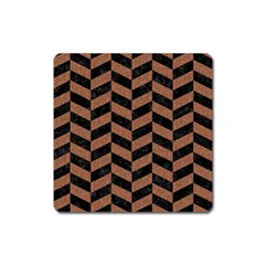 Chevron1 Black Marble & Brown Denim Square Magnet by trendistuff
