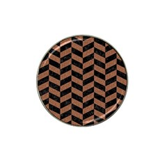 Chevron1 Black Marble & Brown Denim Hat Clip Ball Marker (10 Pack) by trendistuff