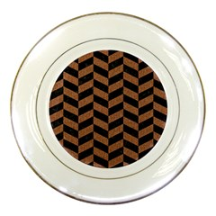 Chevron1 Black Marble & Brown Denim Porcelain Plates by trendistuff