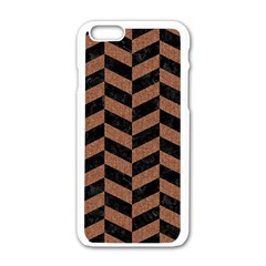Chevron1 Black Marble & Brown Denim Apple Iphone 6/6s White Enamel Case by trendistuff