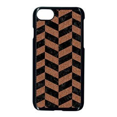 Chevron1 Black Marble & Brown Denim Apple Iphone 7 Seamless Case (black) by trendistuff
