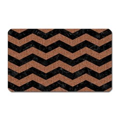 Chevron3 Black Marble & Brown Denim Magnet (rectangular) by trendistuff