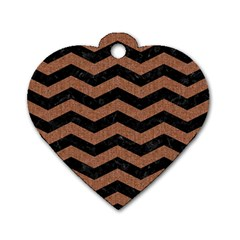 Chevron3 Black Marble & Brown Denim Dog Tag Heart (two Sides) by trendistuff