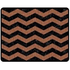 Chevron3 Black Marble & Brown Denim Double Sided Fleece Blanket (medium)  by trendistuff