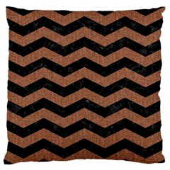 Chevron3 Black Marble & Brown Denim Large Flano Cushion Case (two Sides)