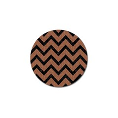Chevron9 Black Marble & Brown Denim Golf Ball Marker by trendistuff