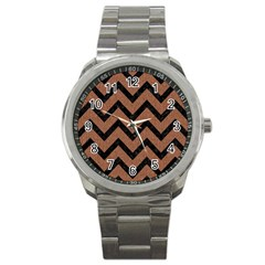 Chevron9 Black Marble & Brown Denim Sport Metal Watch by trendistuff