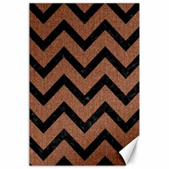Chevron9 Black Marble & Brown Denim Canvas 20  X 30   by trendistuff
