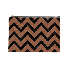 Chevron9 Black Marble & Brown Denim Cosmetic Bag (large)  by trendistuff