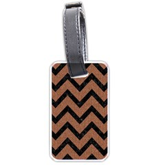 Chevron9 Black Marble & Brown Denim Luggage Tags (one Side)  by trendistuff